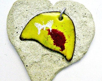 Enamled Jewelry / Reversible Yellow Enameled Pendant with White Butterfly