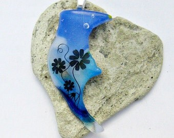 Fused Glass - Edgy Blue Pendant with Black Flowers