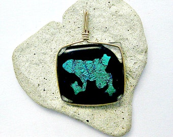 Turquoise Dichroic Froggie Fused Glass Pendant with 14 K Gold Filled Wire Wrapped