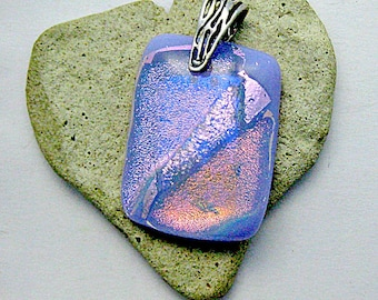 Fused Glass Jewelry - Lavender and Pink Dichroic Pendant