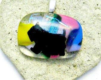 Scottie Dog Fused Glass Pendant - Fused Glass Pendant