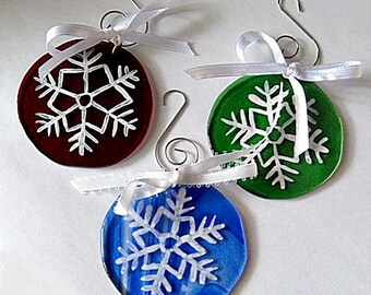 3 White Snowflakes on Red Blue and Green Fused Glass Ornaments