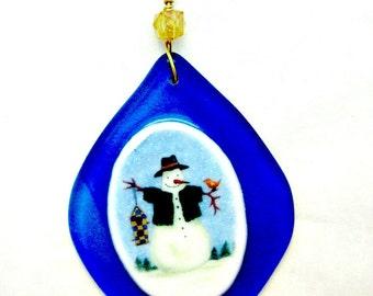 Fused Glass Snowman Ornament 2