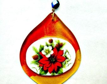 Fused Glass Poinsettia Tree Ornament