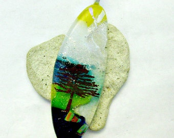 Tree Of Life Dichroic Fused Glass Large Pendant