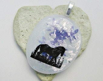 Fused Glass Jewelry - Dichroic with Black Horse Pendant