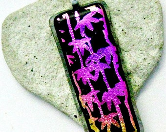 Dichroic Bamboo Magenta and Black Fused Glass Pendant