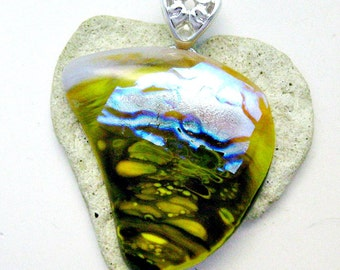 Fused Glass Jewelry - Dichroic Sun Beach & Ocean - Abstract Heart Pendant