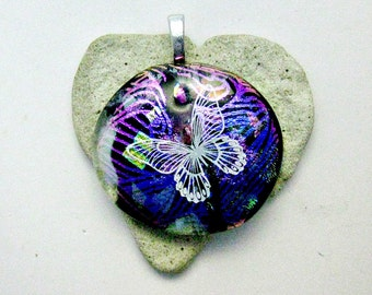Fused Glass Dichroic Pendant - Large Butterfly Pendant