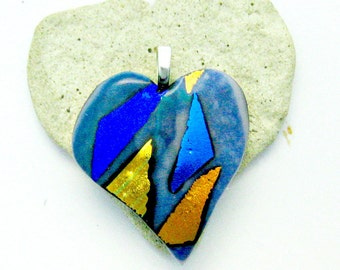 Blue Gold Dichroic Fused Glass Heart Pendant