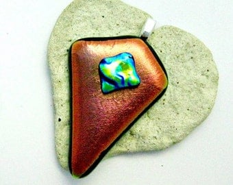 Dichroic Copper and Aqua Fused Glass Pendant