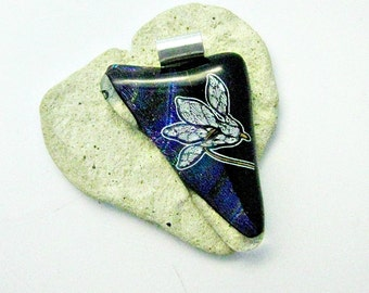 White Flower on Dichroic Black Fused Glass Pendant