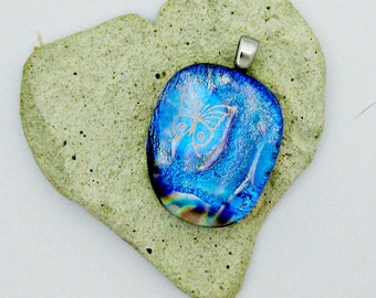 Dichroic Fused Glass Pendant - Golden Butterfly Pendant
