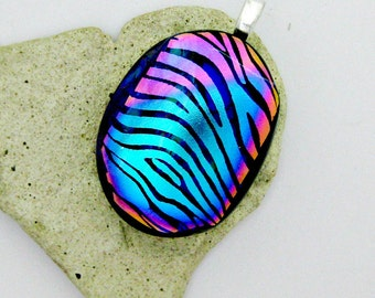 Stripes Of Color Dichroic Fused Glass Pendant