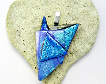Fused Glass Jewelry/ Turquoise Dichroic /Pendant