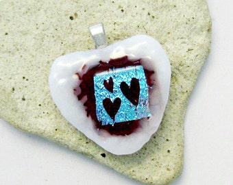 Fused Dichroic Glass Heart Pendant