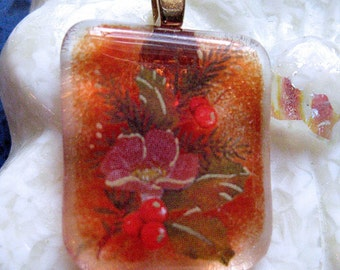Christmas Bouquet Fused Glass Pendant