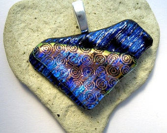 Dichroic Stripes and Dots Fused Glass Pendant