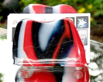 Fused Glass Business Card Holder - Red White and Blue Napkin Holder - Sponge Holder - Cell Phone Holder
