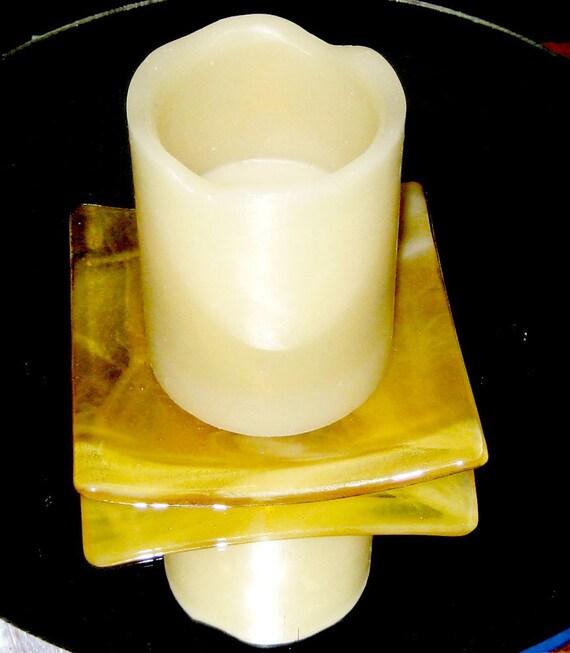 Smokey Amber Sushi Fused Glass Dish - Candle Holder
