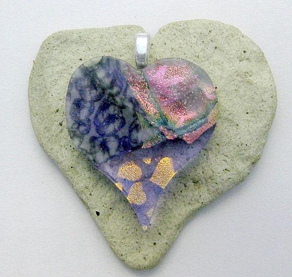Lavender Heart DichroicGlass Pendant -  Fused Dichroic Glass Pendant