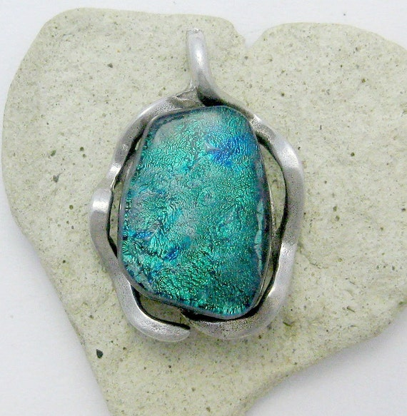 Fused Dichroic Glass  Pendant -Sterling Silver Forever Turquoise