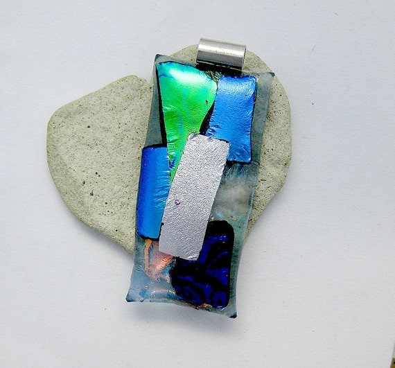 Blue Green Salmon Purple and Silver Patches of Dichroic Fused  Glass Pendant