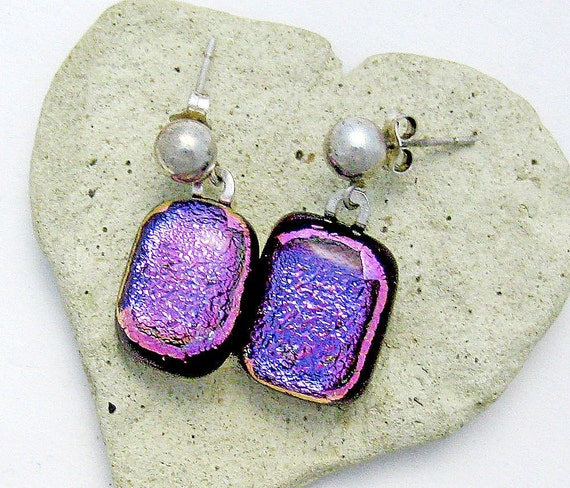 Dichroic Fused Glass Earrings Magenta Blue