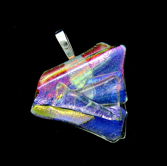 Fused Dichroic Glass Pendant - Fused Glass Pendant - Burst of Color Pendant