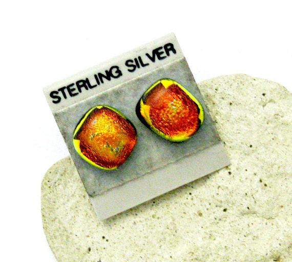 Red Gold Dichroic Fused Glass Earrings