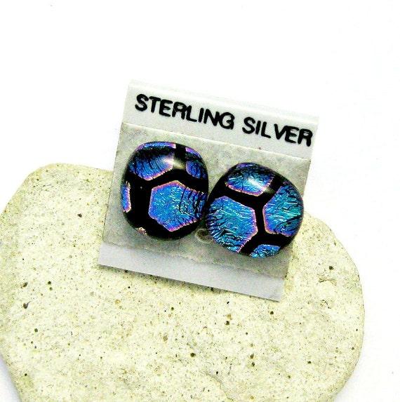 Dichroic Fused Glass Earrings - Magenta Dots Earrings