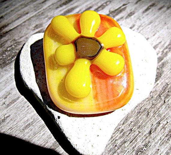 Sunflower Fused Glass Magnet