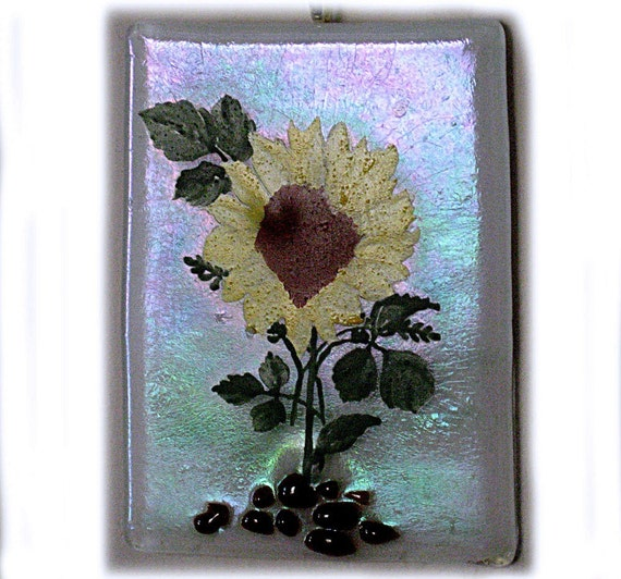Enamel Painted Sun Flower Fused Glass ACEO