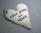 Hand Made stamped sterling silver heart pendant Twilight themed