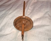 Hand turned hardwood drop spindle whorl