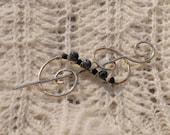 Nickel Silver Shawl Pin with Snowflake Jasper and Swarovski