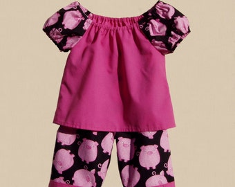 Pigs in Pink, 2 pc pants outfit, infant size 12 months