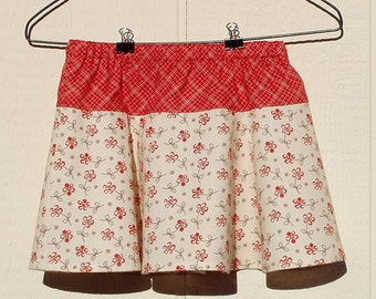 Flowers and Plaids in Red Skirt, size 12 months