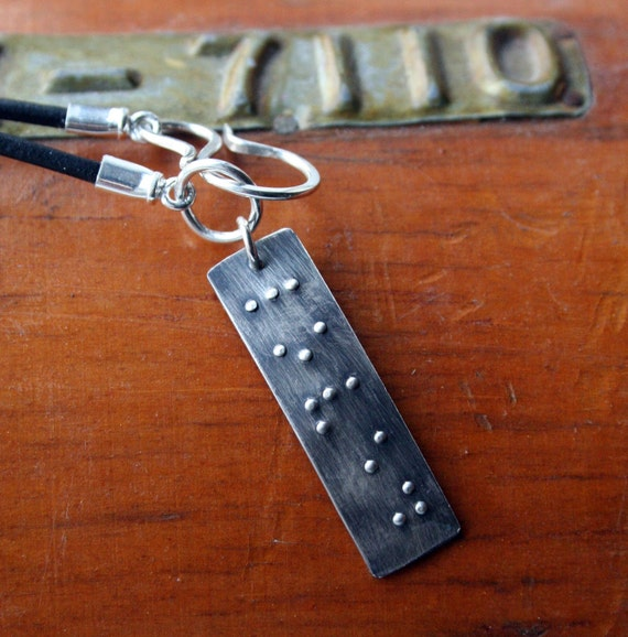 Mens Leather and Sterling Braille Necklace