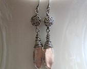 faux gem silver earrings with marcasite