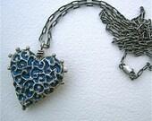 English Garden silver and resin heart pendant
