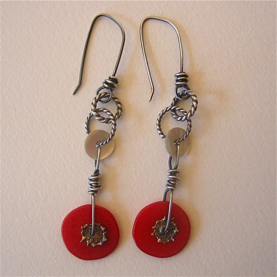 Coral Red Disc Danglers