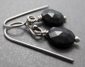Black Depression Glass and Sterling Silver Earrings