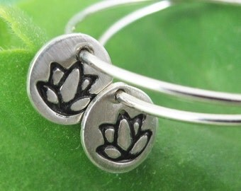 Lotus Flower Hoops - Sterling Silver