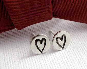 Heart Studs - Sterling Silver Post Earrings