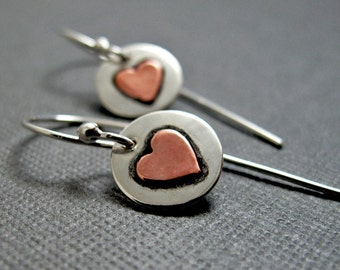 Sweetheart Earrings - Sterling Silver with Copper Hearts little dangles