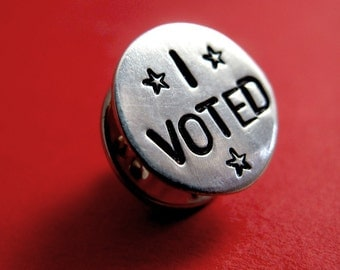 I Voted Pin - Vote Pin - Patriotic Sterling Silver Lapel Pin or Tie Tack