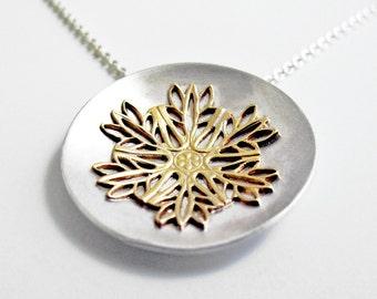Filigree Snowflake Necklace - Mandala in Silver and Brass