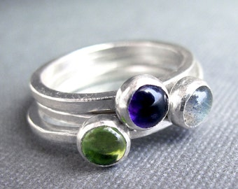 Birthstone Stacking Rings - Sterling Silver & 5mm stones - Three Rings