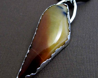 On a Wing Necklace - Mookiate Jasper and Sterling Silver Pendant with a Silk Cord Necklace